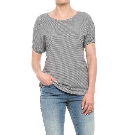 Workshop Republic Clothing Striped Jersey Shirt - Short Sleeve (For Women) in White/Black Stripe