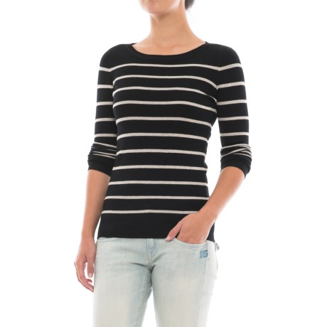 Workshop Republic Clothing Striped Sweater (For Women) in Black/Sandstone Heather