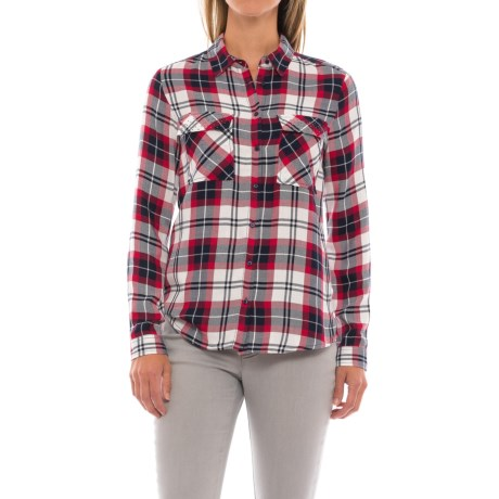Workshop Republic Clothing Studded Pockets Plaid Shirt - Long Sleeve (For Women) in Plaids