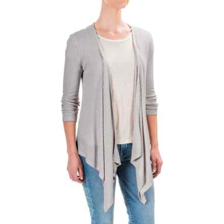 Workshop Republic Clothing Textured Cardigan Sweater - Open Front, 3/4 Sleeve (For Women) in Grey - Closeouts