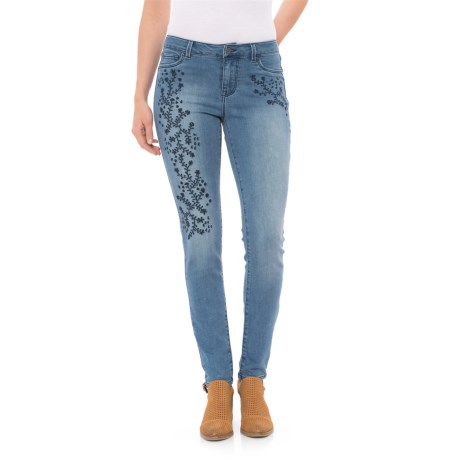 Workshop Republic Clothing Vine Floral Embroidered Skinny Jeans (For Women) in Medium Stone