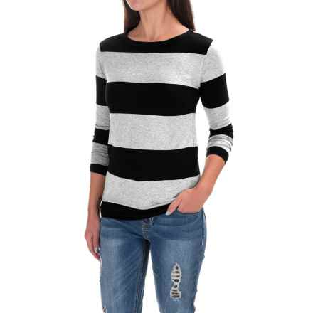 Workshop Republic Clothing Yarn-Dyed T-Shirt - Stretch Rayon, 3/4 Sleeve (For Women) in Mist Grey Heather/Black - Closeouts