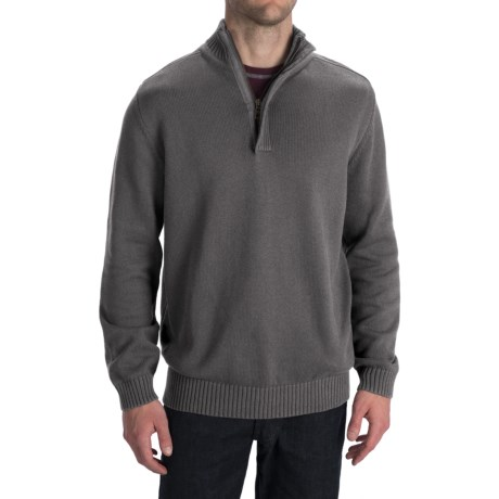 Worn Cotton Sweater - Zip Neck, Elbow Patches (For Men) in Grey