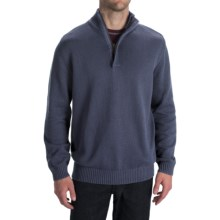 Worn Cotton Sweater - Zip Neck, Elbow Patches (For Men) in Navy - Closeouts