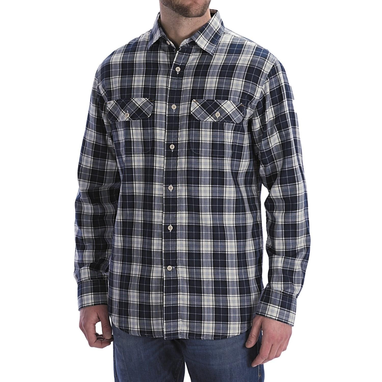 Worn denim jersey lined flannel shirt long sleeve for for Fleece lined flannel shirt