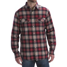 Worn Denim Jersey-Lined Flannel Shirt - Long Sleeve (For Men) in Red - Closeouts