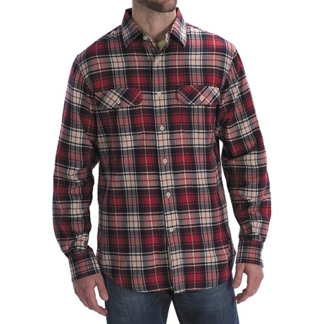 Worn Denim Jersey-Lined Flannel Shirt - Long Sleeve (For Men) in Red