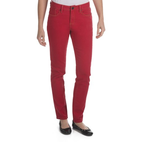 Worn Poppy Colored Skinny Jeans - Piece-Dyed Denim (For Women) in Really Red