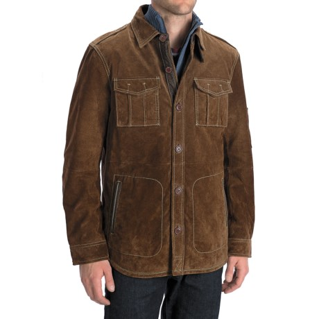 Worn Shirt Jacket - Suede (For Men) in Dark Brown