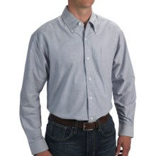Woven Cotton Oxford Shirt - Long Sleeve (For Men) in Blue - 2nds