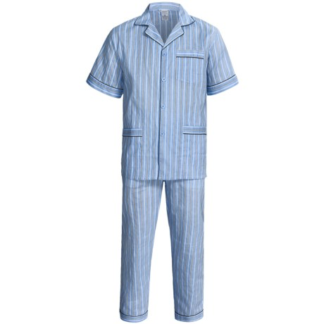 Woven Cotton Pajamas - Short Sleeve (For Men) in Blue/Black Stripe