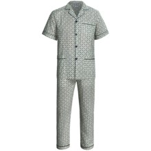Woven Cotton Pajamas - Short Sleeve (For Men) in Green Print - Closeouts