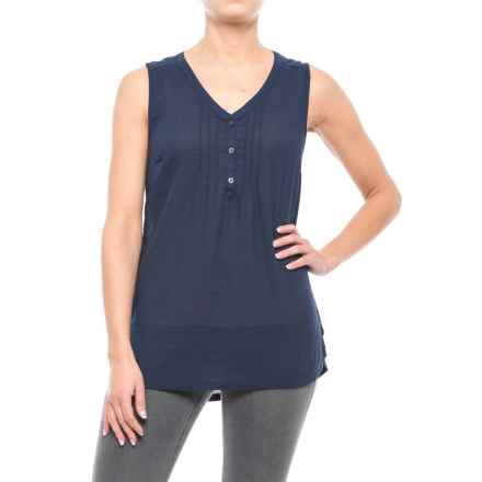 Woven Cotton Shirt - Sleeveless (For Women) in Navy - 2nds