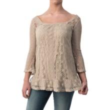 Woven Lace Tunic Shirt - Long Sleeve (For Women) in Dark Beige - 2nds