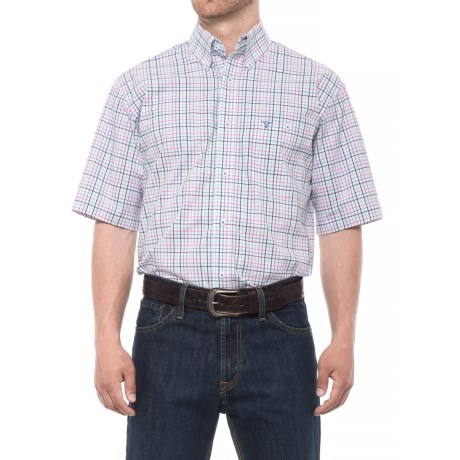 Wrangler 20X Competition Advanced Comfort Plaid Shirt - Short Sleeve (For Men) in Pink/White