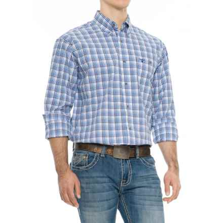 Wrangler 20X Competition Advanced Comfort Print Shirt - Long Sleeve (For Big and Tall Men) in Navy/White - Overstock