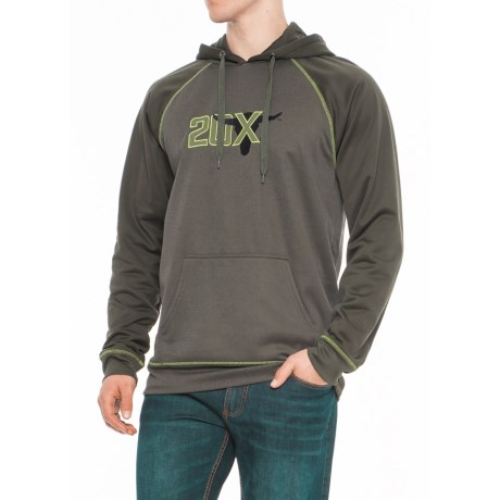 Wrangler 20X Fleece Hoodie (For Big and Tall Men) in Green Heather/Dark Green