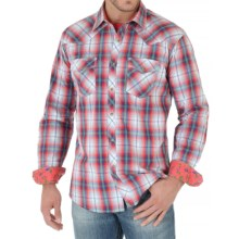 Wrangler 20X Plaid Shirt - Snap Front, Long Sleeve (For Men) in Coral/White/Blue - Closeouts