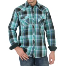 Wrangler 20X Plaid Shirt - Snap Front, Long Sleeve (For Men) in Green/Black/Blue - Closeouts