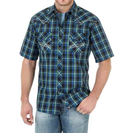 Wrangler 20X Plaid Shirt - Snap Front, Short Sleeve (For Men) in Black/Blue/Green - Closeouts