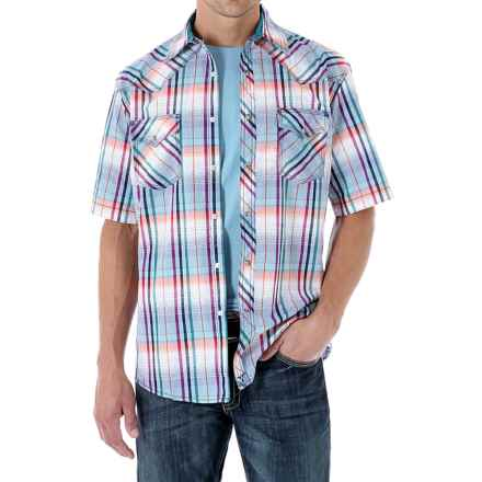 Wrangler 20X Plaid Shirt - Snap Front, Short Sleeve (For Men) in Blue Multi - Closeouts