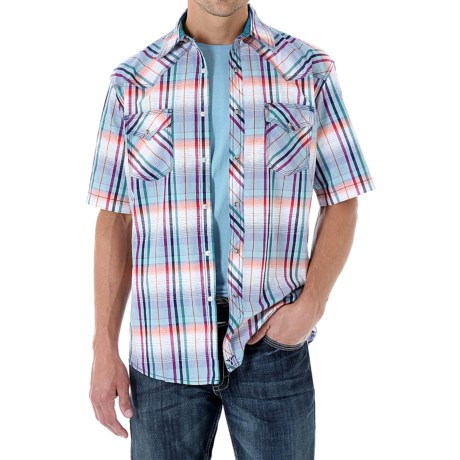Wrangler 20X Plaid Shirt Snap Front, Short Sleeve (For Men)