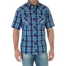 Wrangler 20X Plaid Shirt - Snap Front, Short Sleeve (For Men) in Dark Blue/Red Plaid - Closeouts
