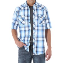 Wrangler 20X Plaid Shirt - Snap Front, Short Sleeve (For Men) in White/Blue - Closeouts