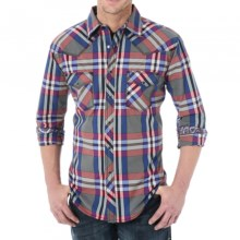 Wrangler 20X Woven Shirt - Snap Front, Long Sleeve (For Men) in Grey/Blue/Red - Closeouts