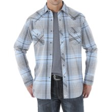 Wrangler 20X Woven Shirt - Snap Front, Long Sleeve (For Men) in Grey/Light Blue - Closeouts