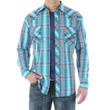 Wrangler 20X Woven Shirt - Snap Front, Long Sleeve (For Men) in Turquoise/Orange - Closeouts