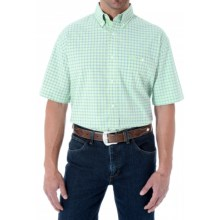Wrangler Advanced Comfort Plaid Shirt - Button Front, Short Sleeve (For Men) in Light Green/Blue - Closeouts