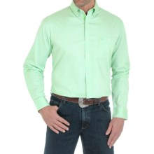 Wrangler Advanced Comfort Solid Shirt - Button Front, Long Sleeve (For Men) in Light Green - Closeouts