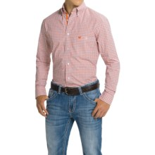 Wrangler Advanced Comfort Sport Shirt - Button Front, Long Sleeve (For Men) in Coral/White - Closeouts