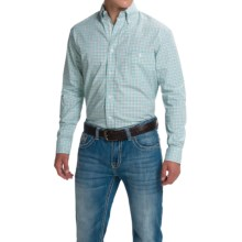 Wrangler Advanced Comfort Sport Shirt - Button Front, Long Sleeve (For Men) in Grey/Green - Closeouts