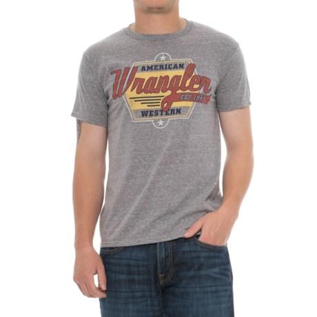 Wrangler American Western T-Shirt - Short Sleeve (For Men) in Grey