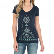 Wrangler Aztec Print T-Shirt - Short Sleeve (For Women) in Navy - Closeouts