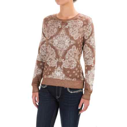 Wrangler Bandana Printed Sweatshirt - Boat Neck (For Women) in Brown/Cream - Closeouts