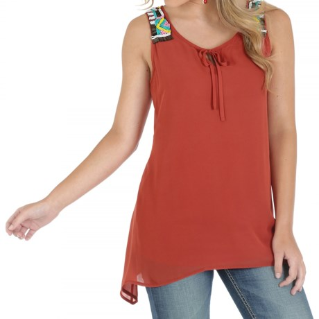 Wrangler Beaded Tunic Shirt Sleeveless (For Women)