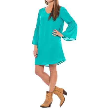 Wrangler Bell Sleeve Dress - Long Sleeve (For Women) in Turquoise - Closeouts