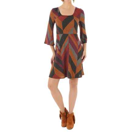 Wrangler Bell Sleeve Sweater Dress - 3/4 Sleeve (For Women) in Rust Multi - Closeouts