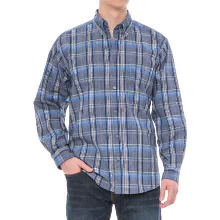 Wrangler Blue Ridge Easy-Care Work Shirt - Long Sleeve (For Men) in Blue Plaid - Closeouts