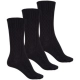 Wrangler Cable-Knit and Ribbed Socks - 3-Pack, Crew (For Women)