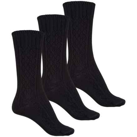 Wrangler Cable-Knit and Ribbed Socks - 3-Pack, Crew (For Women) in Black - Closeouts