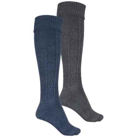 Wrangler Cable-Knit Knee Socks - 2-Pack, Over the Calf (For Women) in Den/Charcoal - Closeouts