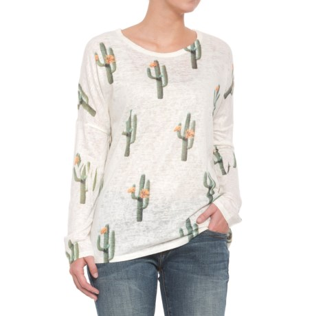 Wrangler Cactus Print Knit Shirt - Long Sleeve (For Women) in Cream/Green