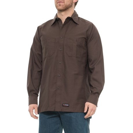 cc05a4a489ca0a Wrangler Canvas Work Shirt - Long Sleeve (For Men) in Brown