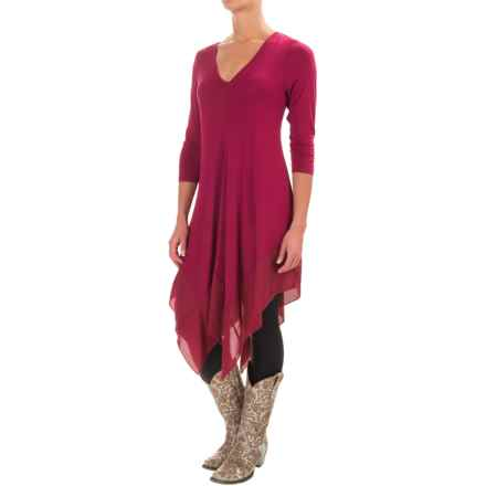 Wrangler Chiffon-Trimmed Tunic Shirt - 3/4 Sleeve (For Women) in Plum Red - Closeouts