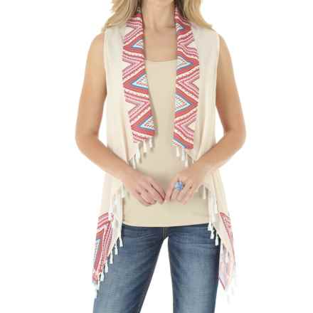Wrangler Chiffon Vest - Pompom-Fringe (For Women) in Ivory/Pink - Closeouts