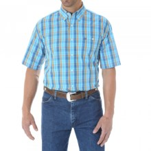Wrangler Classic Western Fashion Plaid Shirt - Short Sleeve (For Men and Big Men) in Light Blue Multi - Closeouts